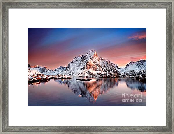 Arctic Dawn Over Reine Village Framed Print