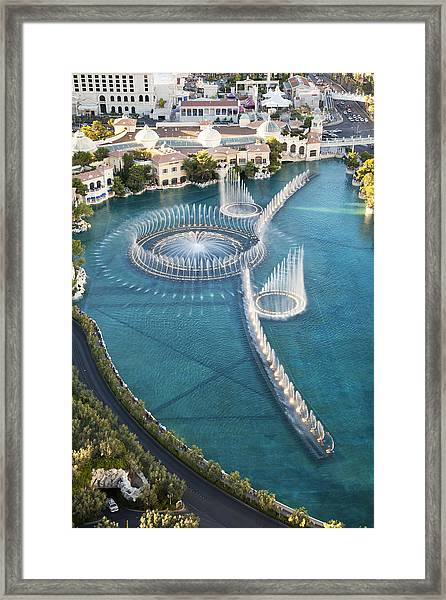 Arial View Of Bellagio Fountains On Las Vegas Strip Framed Print by Alina555