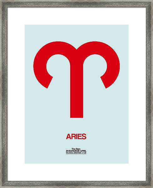 Aries Zodiac Sign Red Framed Print