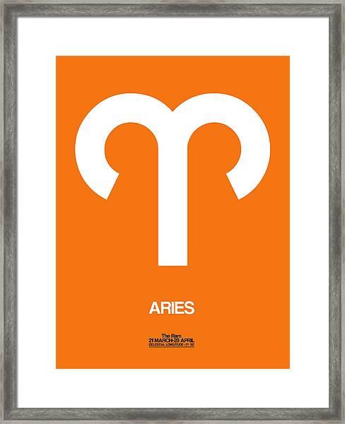 Aries Zodiac Sign White On Orange Framed Print