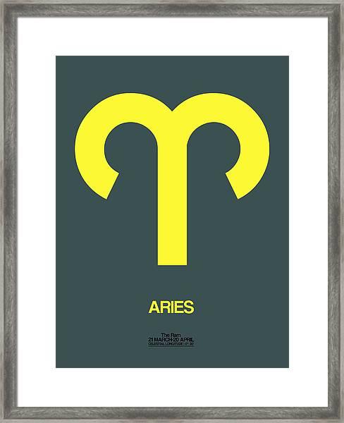 Aries Zodiac Sign Yellow Framed Print