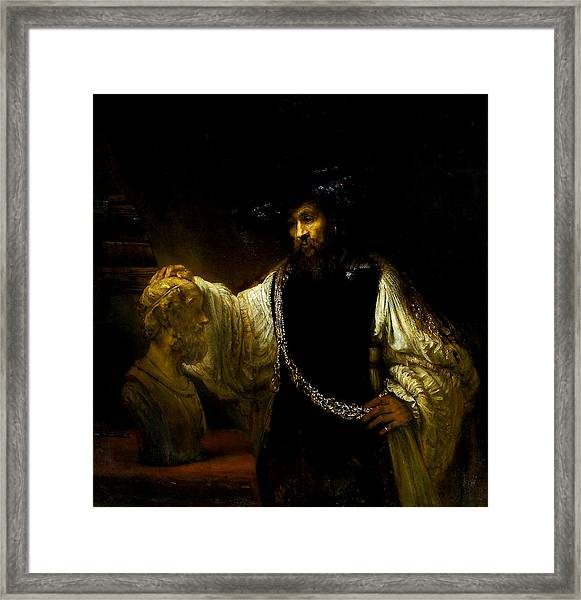 Aristotle Contemplating A Bust Of Homer Framed Print