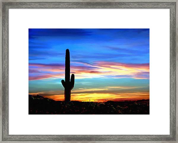 Arizona Sunset Saguaro National Park Framed Print