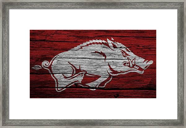 Arkansas Razorbacks On Wood Framed Print