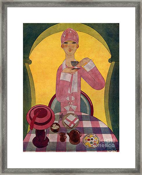 Art Deco Tea Drinking 1926 1920s Spain Framed Print