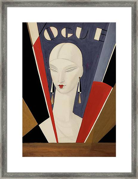 Art Deco Vogue Cover Of A Woman's Head Framed Print