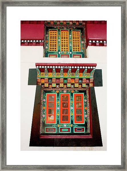 Art In Monastery Architecture, Sikkim Framed Print by Jaina Mishra