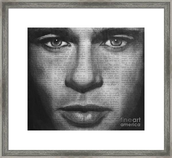 Art In The News 32- Brad Pitt Framed Print
