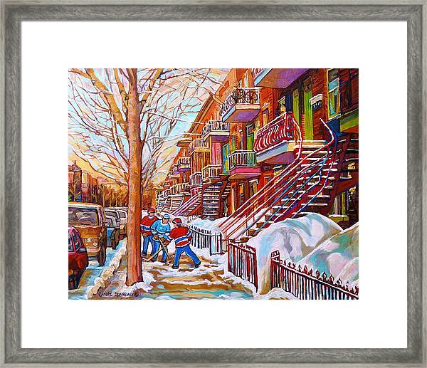 Art Of Montreal Staircases In Winter Street Hockey Game City Streetscenes By Carole Spandau Framed Print