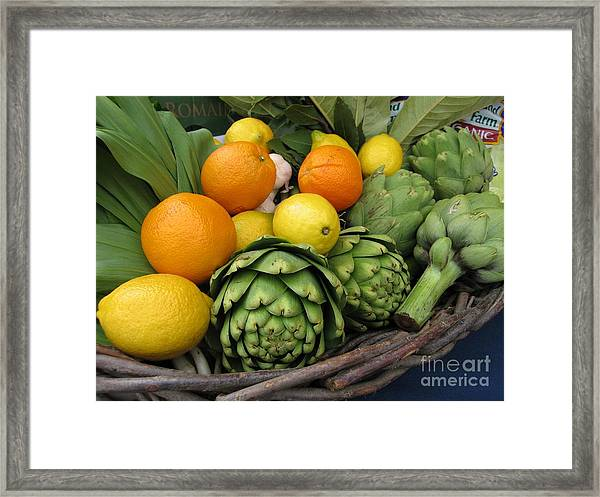 Artichokes Lemons And Oranges Framed Print