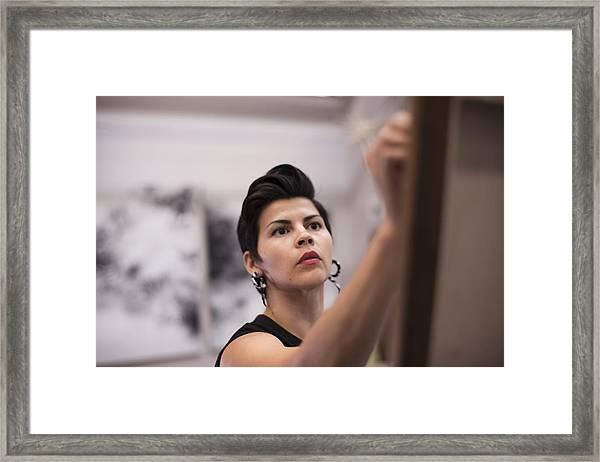 Artist Painting In Her Studio Framed Print by Scott Zdon