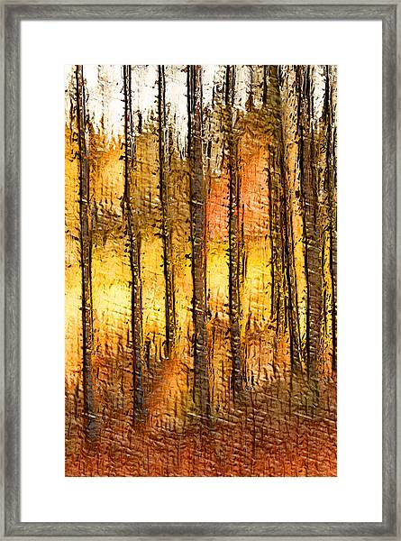 Artistic Fall Forest Abstract Framed Print