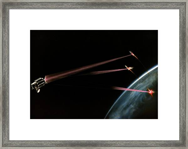 Artist's Impression Of Space-based Sdi Laser Framed Print by Us Department Of Energy / Science Photo Library