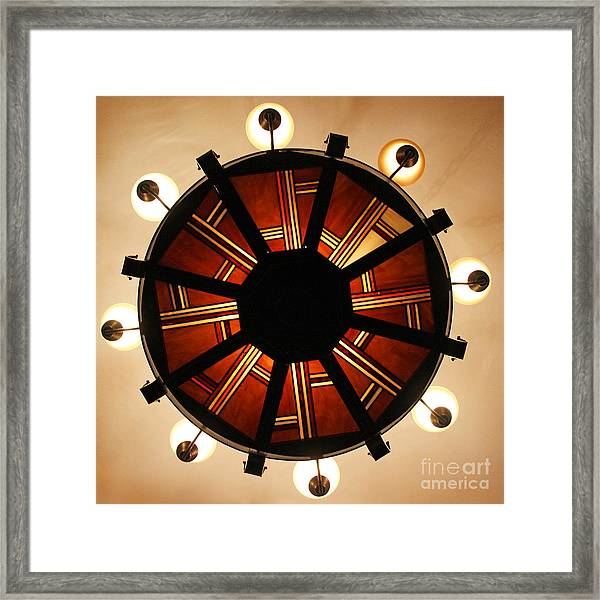 Arts And Crafts Chandelier At Summit Inn Framed Print