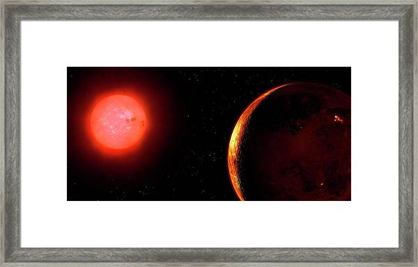 Artwork Of Red Dwarf And Orbiting Planet Framed Print by Mark Garlick