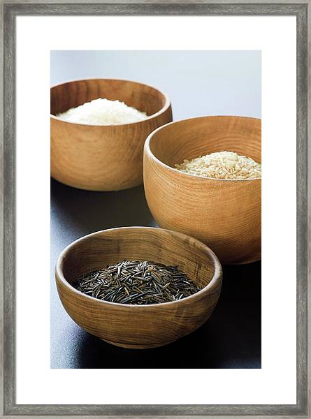 Assortment Of Rice Framed Print by Gustoimages/science Photo Library
