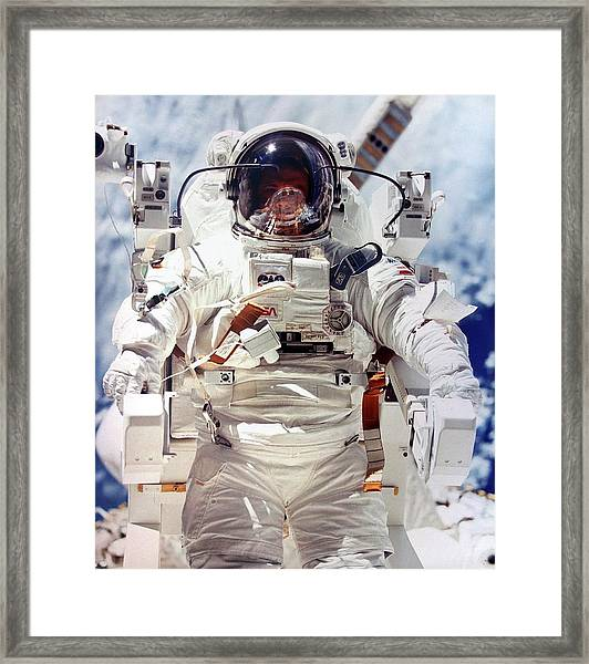 Astronaut During Space-walk Framed Print
