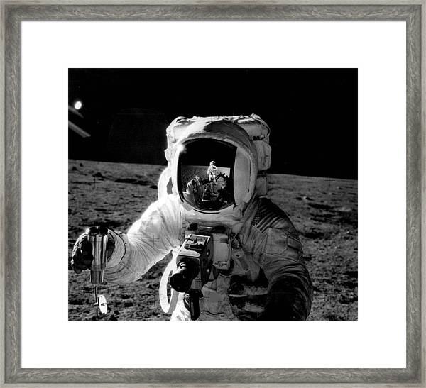 Astronaut On The Moon Framed Print