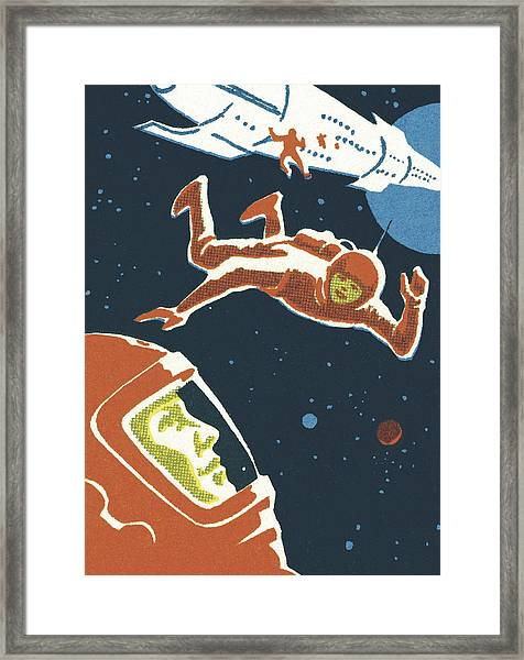 Astronauts In Outer Space Framed Print by CSA-Printstock
