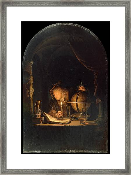 Framed Print featuring the painting Astronomer By Candlelight by Gerrit Dou