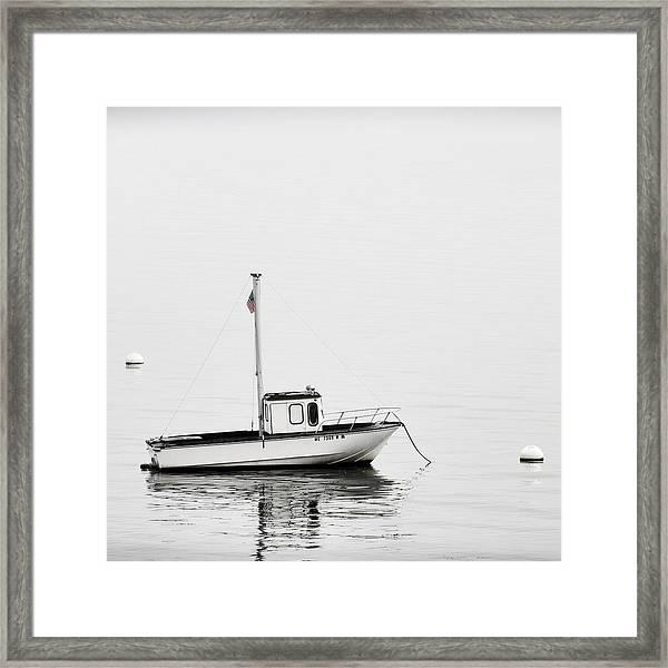 At Anchor Bar Harbor Maine Black And White Square Framed Print