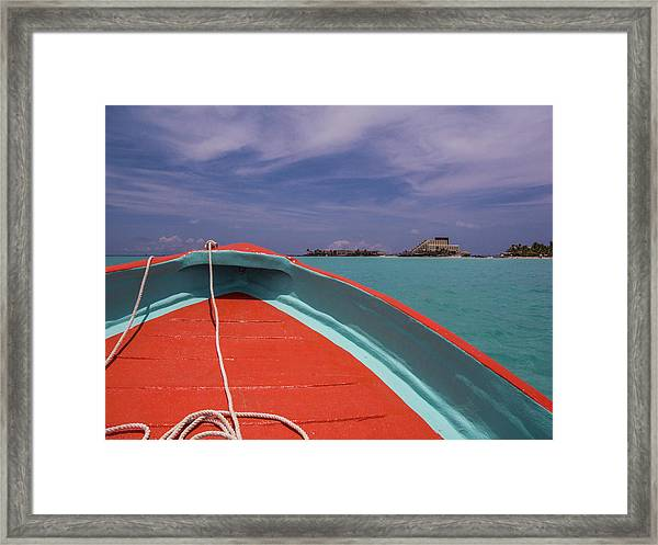 At The Bow Of A Ponga Framed Print