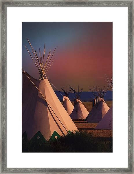 At The Encampment Framed Print