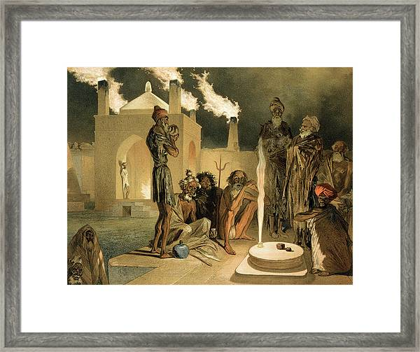 Ateseh-gah, Indians Devoted To The Cult Framed Print