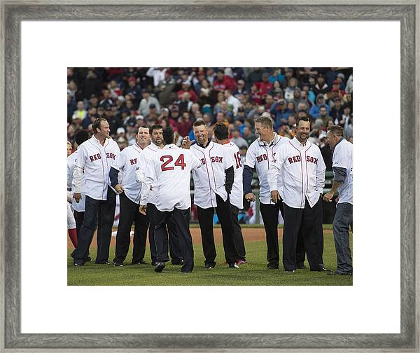 Atlanta Braves V Boston Red Sox Framed Print by Michael Ivins/Boston Red Sox