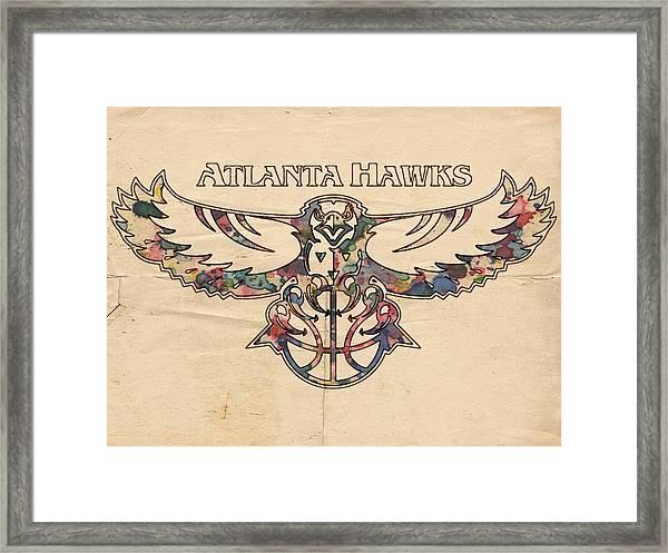 Atlanta Hawks Poster Vintage Framed Print