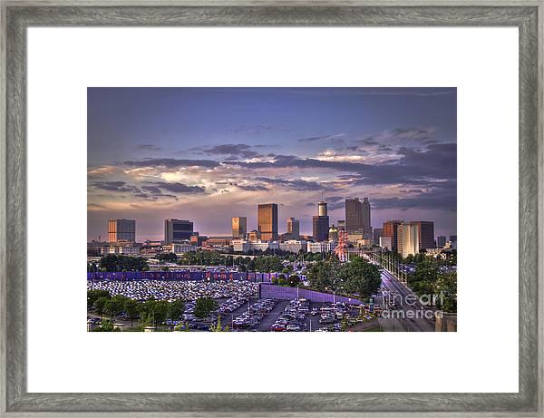 Atlanta Sunset Fulton County Stadium Braves Game  Framed Print