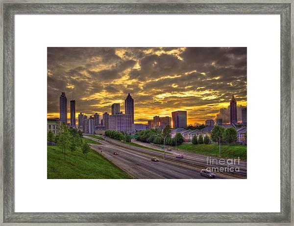 Atlanta Sunset Skyline Framed Print