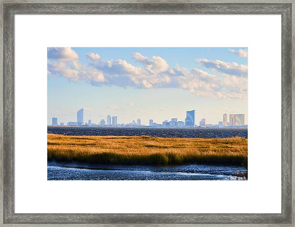 Framed Print featuring the photograph Atlantic City Skyline From Salt Marsh by Beth Sawickie