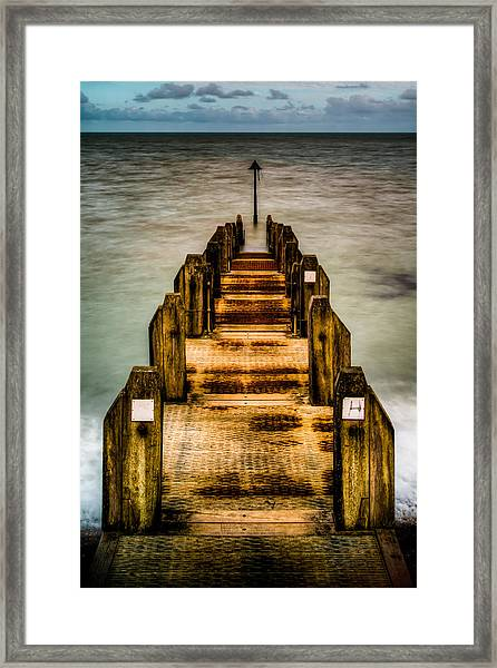 Atlantic Ocean Engulfing A Walkway At Aberystwyth Uk Framed Print