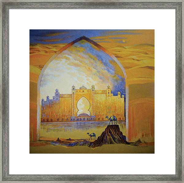 Atlantis And Camels Dubai Framed Print