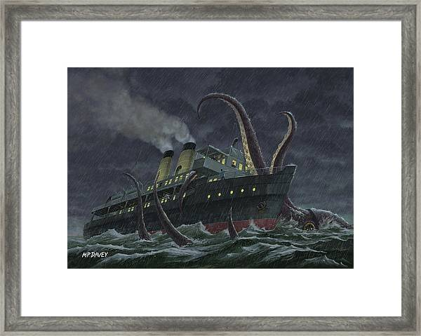 Attack Of Giant Squid Framed Print