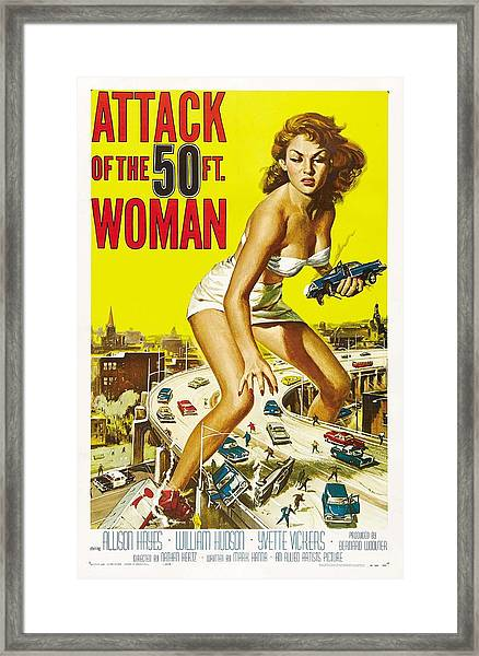 Attack Of The 50 Ft Woman Poster Framed Print