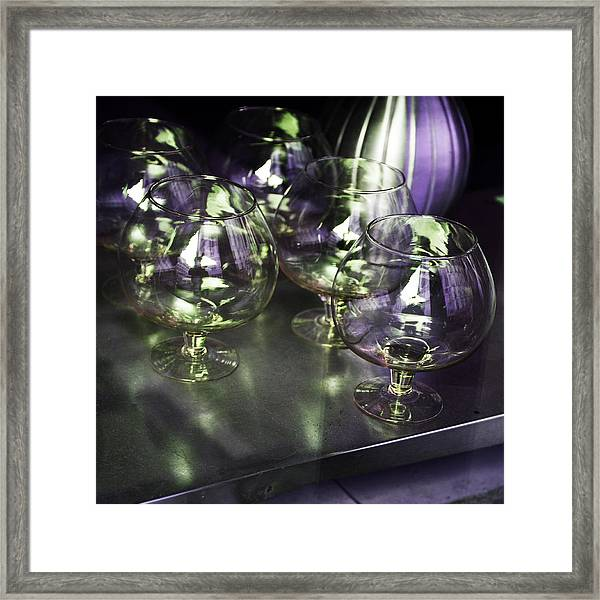 Aubergine Paris Wine Glasses Framed Print