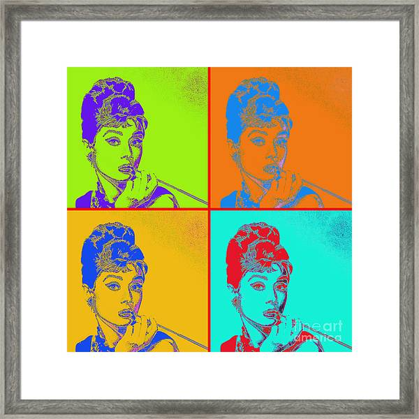 Framed Print featuring the photograph Audrey Hepburn 20130330v2 Four by Wingsdomain Art and Photography