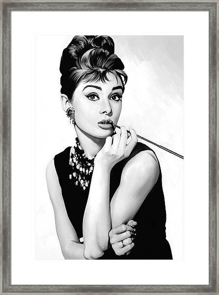 Audrey Hepburn Artwork Framed Print