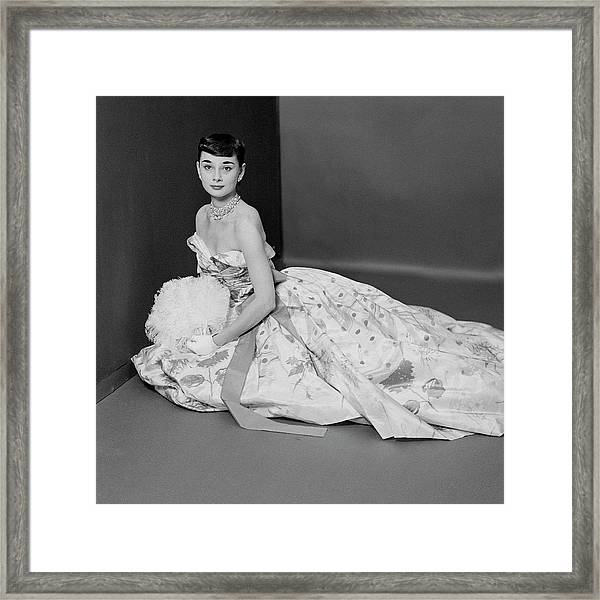 Audrey Hepburn Wearing An Adrian Dress Framed Print
