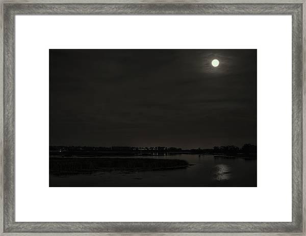 August Full Moon Over Lake Wausau Framed Print