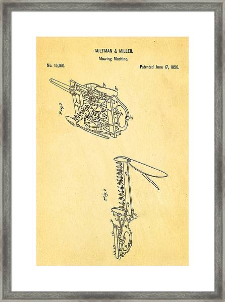 Aultman Mowing Machine Patent 1856 Framed Print