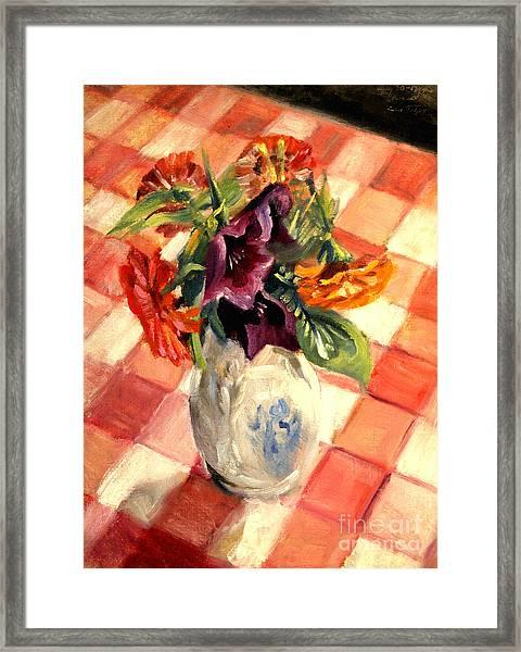 Aunt Alma's Flowers - 1944 Framed Print