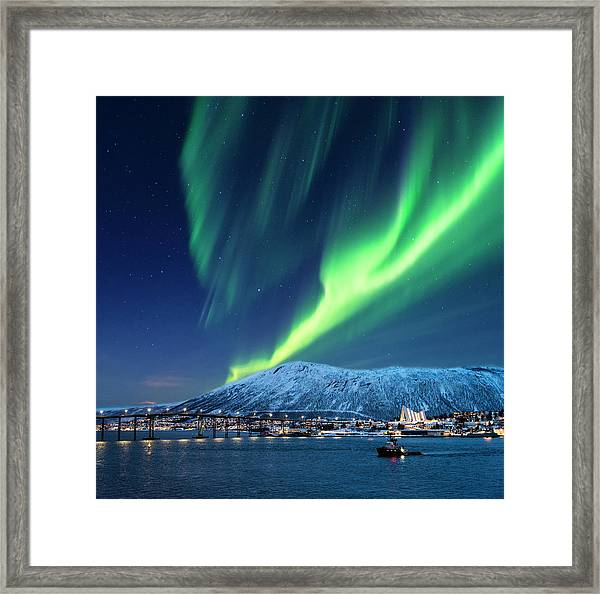 Aurora Borealis Over Tromso Port Framed Print