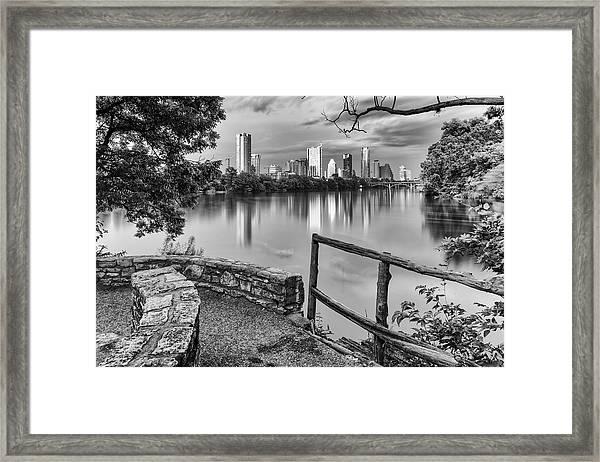 Austin Texas Skyline Lou Neff Point In Black And White Framed Print