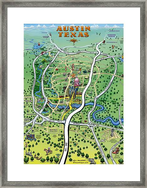 Austin Tx Cartoon Map Framed Print