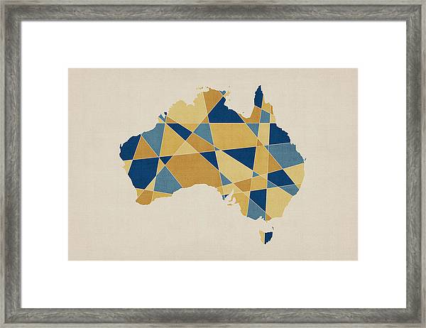 Australia Geometric Retro Map Framed Print