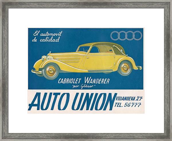 Auto Union Audi 1930s Usa Cc Cars Framed Print