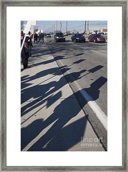 Auto Workers Picketing Framed Print